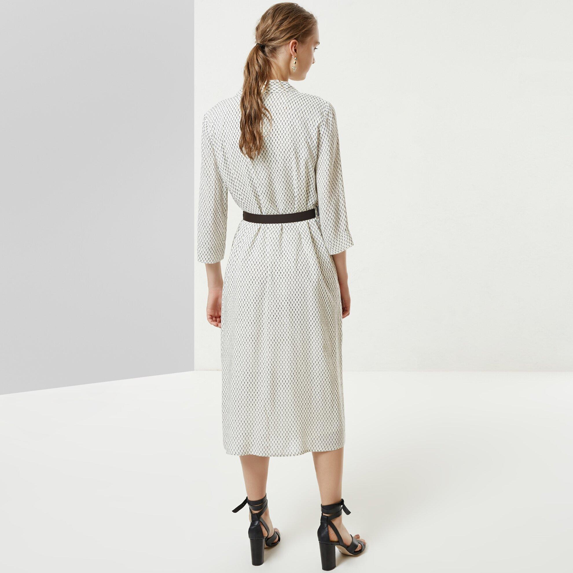 Kemer Detaylı Uzun Elbise