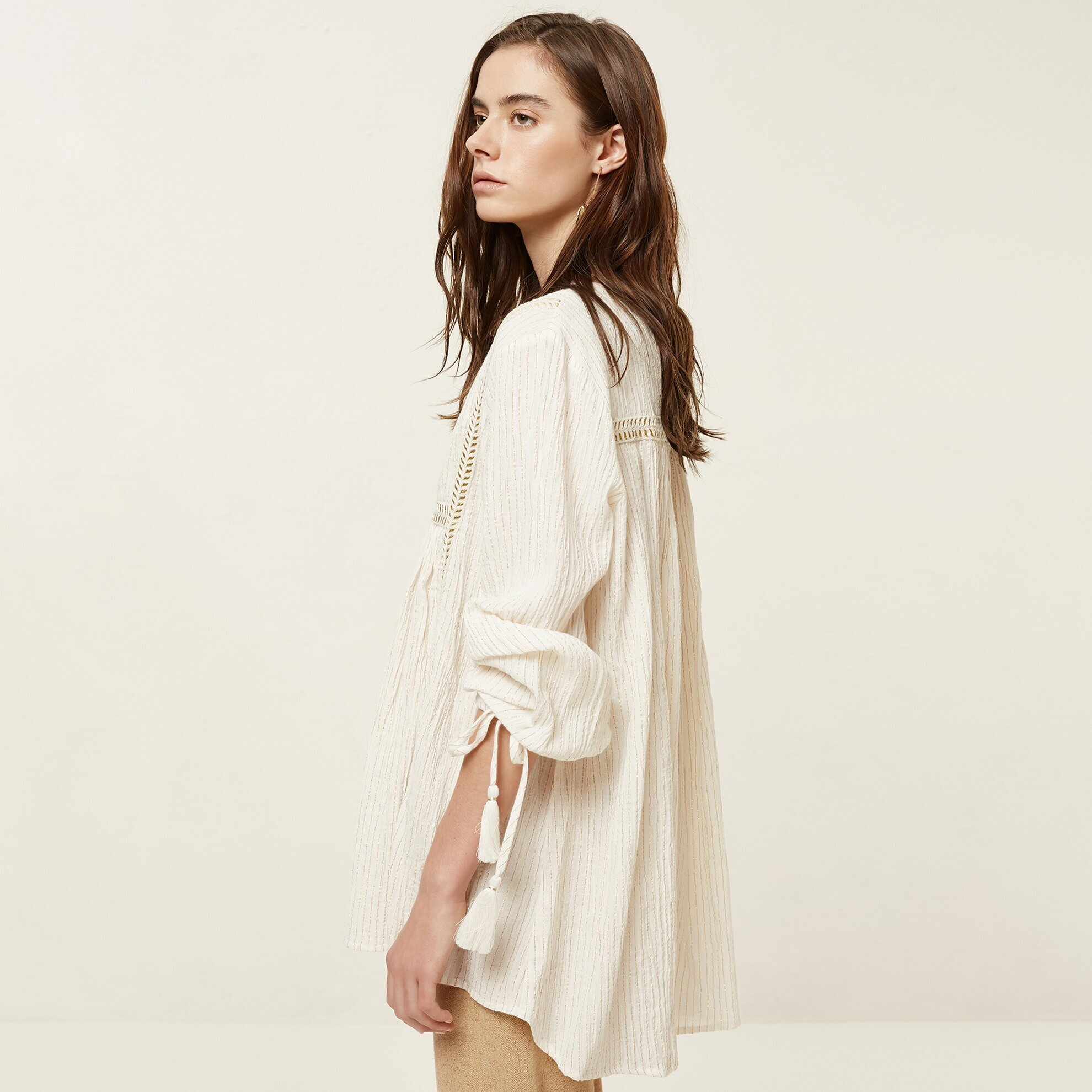 Uzun Kollu Şerit Detaylı Bluz