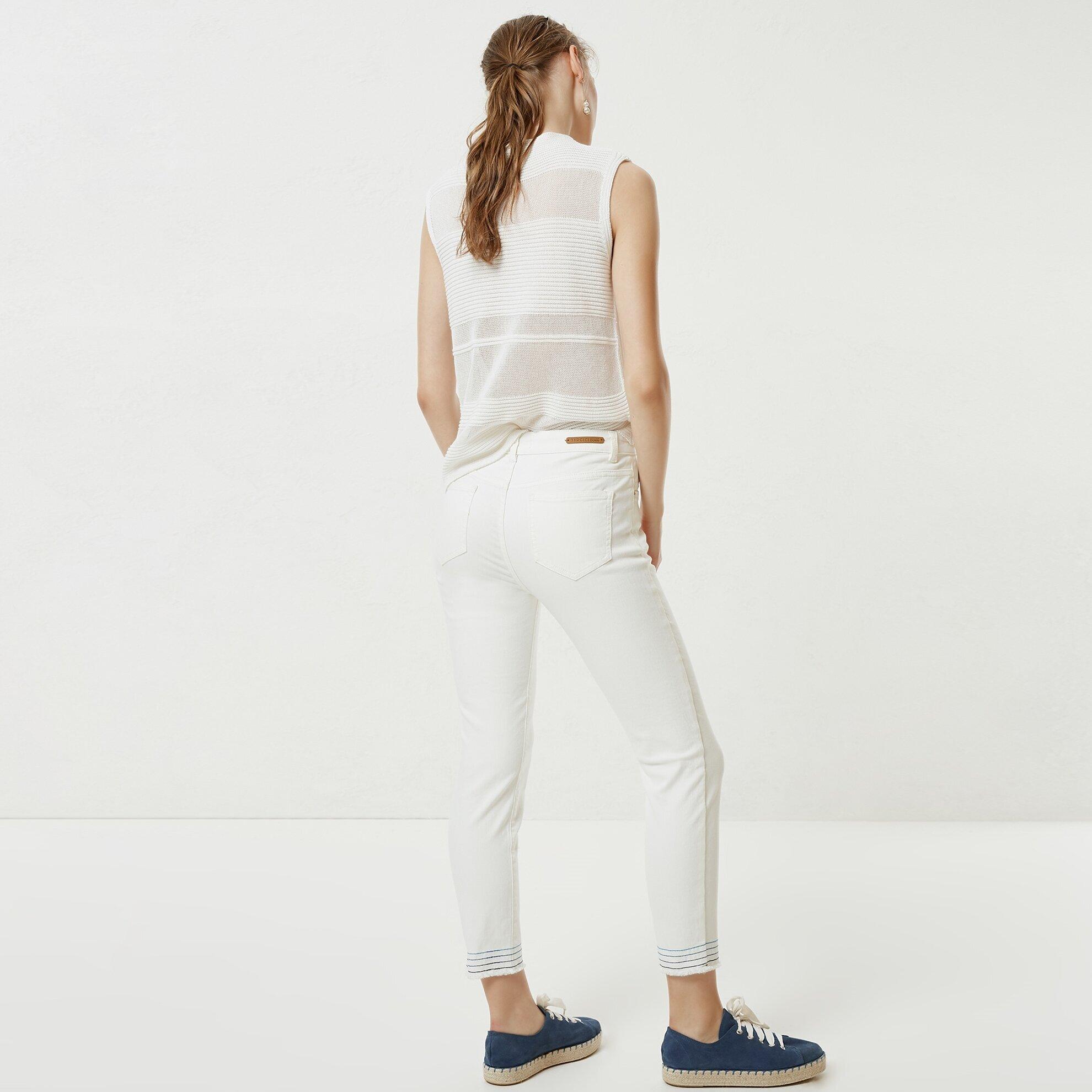 Stitch Detailed Denim Trousers