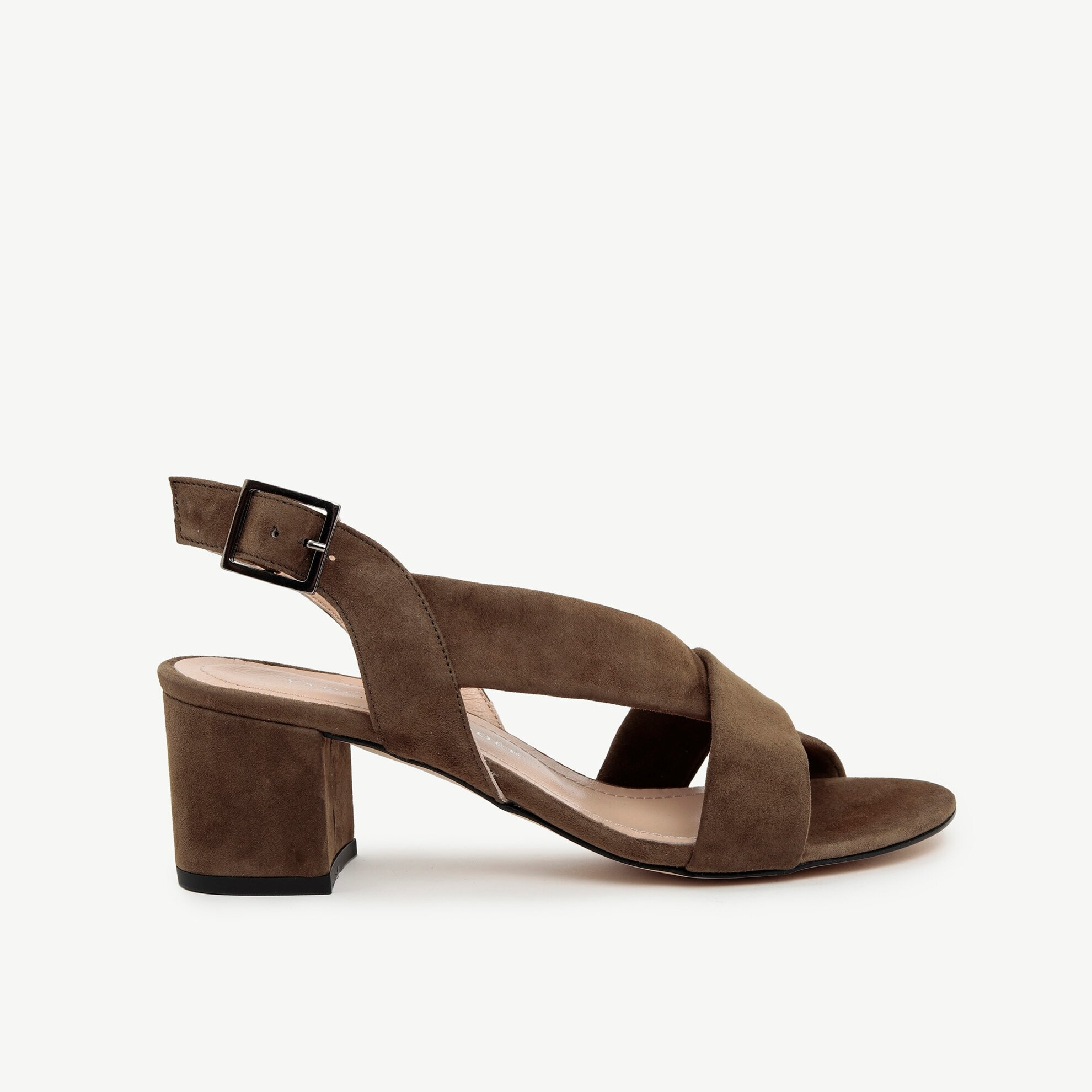 Çapraz Bantlı Süet Deri Topuklu Sandalet