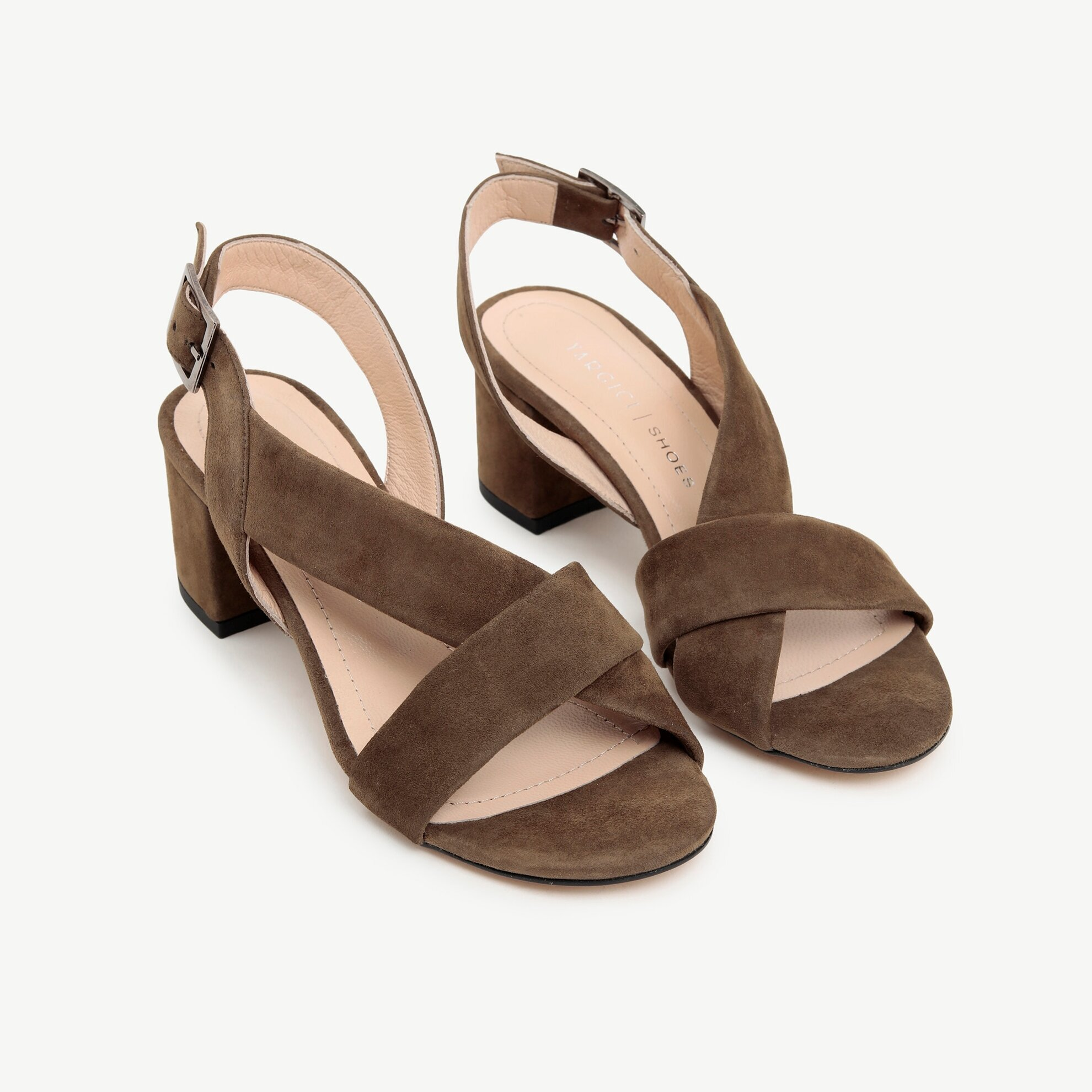Süet Deri Topuklu Sandalet