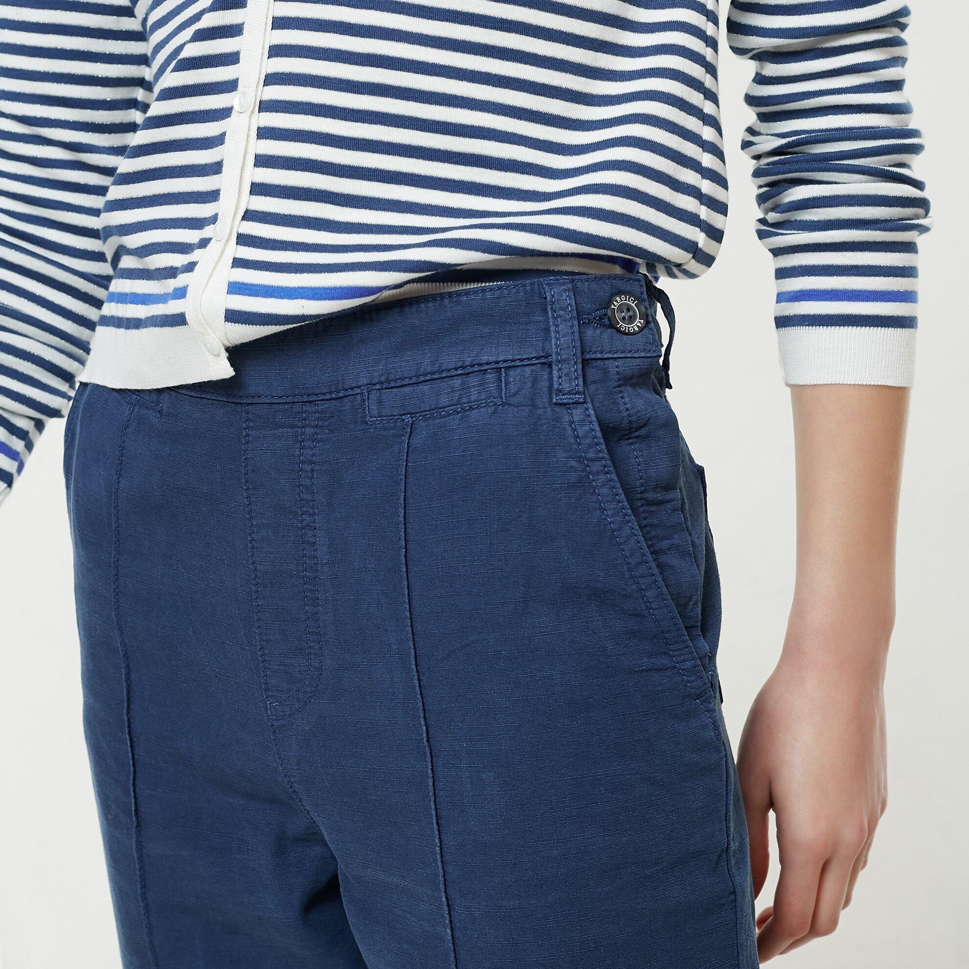 Nervür Detaylı Boru Paça Denim Pantolon