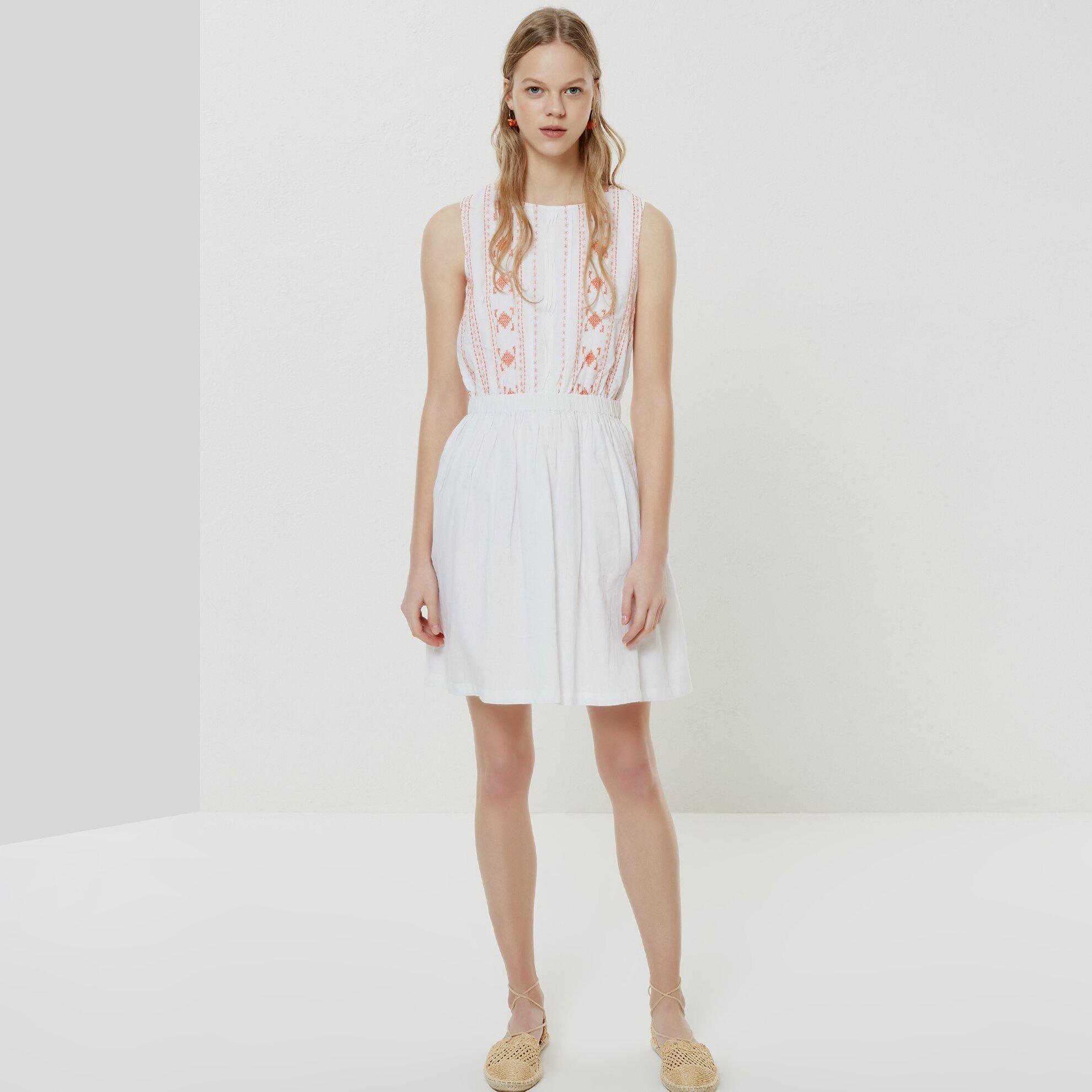 Nervür Detaylı Kolsuz Elbise