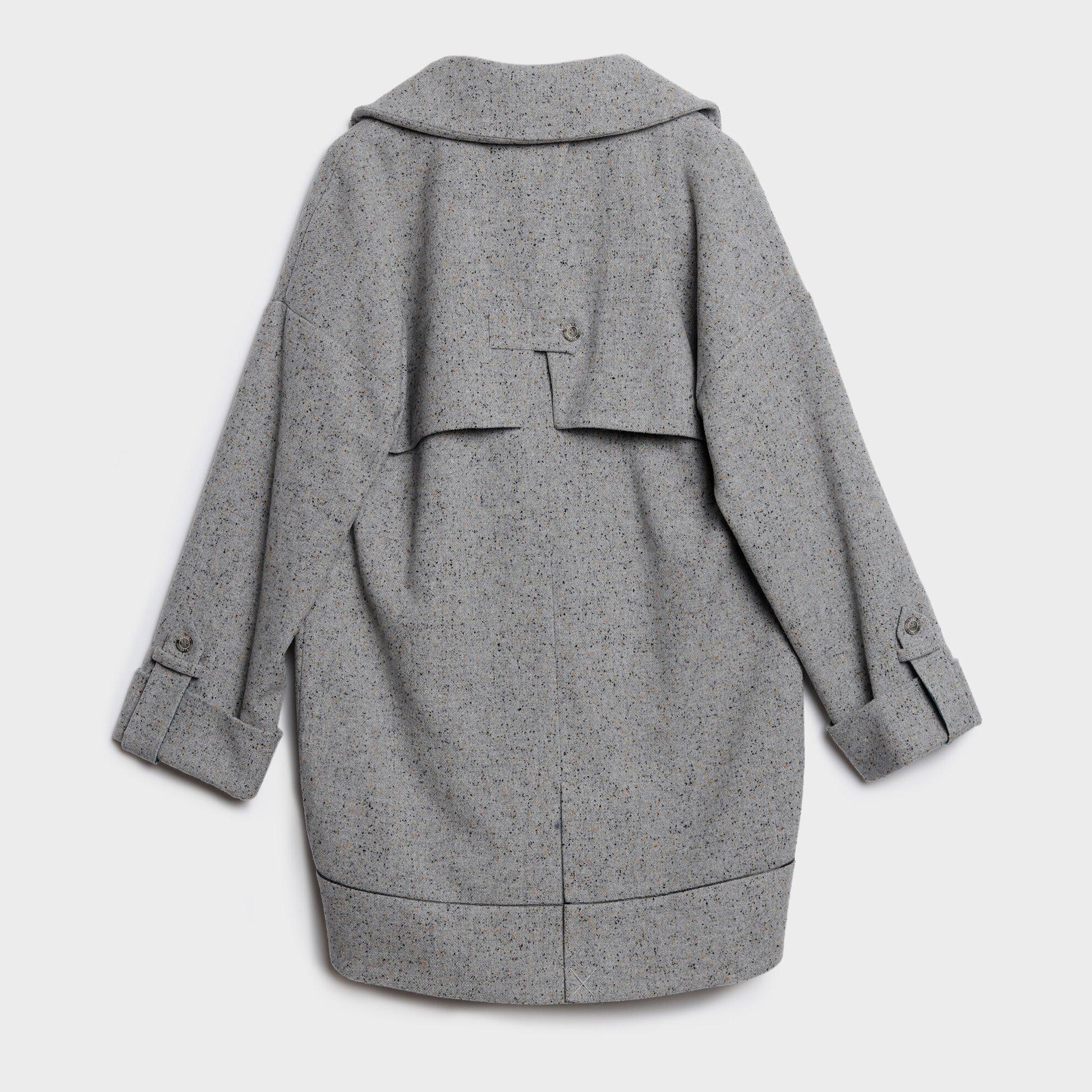 Kruvaze Sırt Detaylı Palto