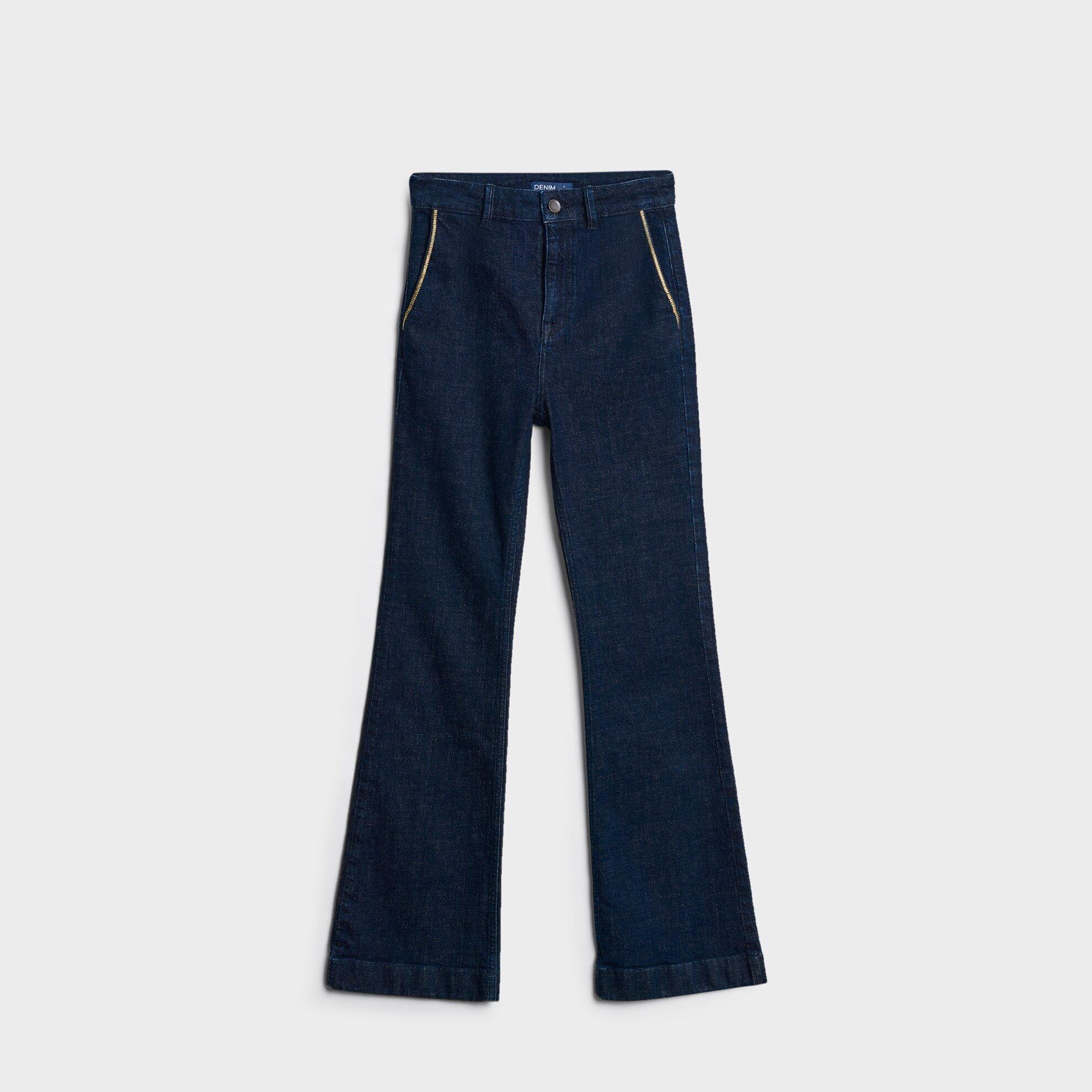 Geniş Paçalı Denim Pantolon