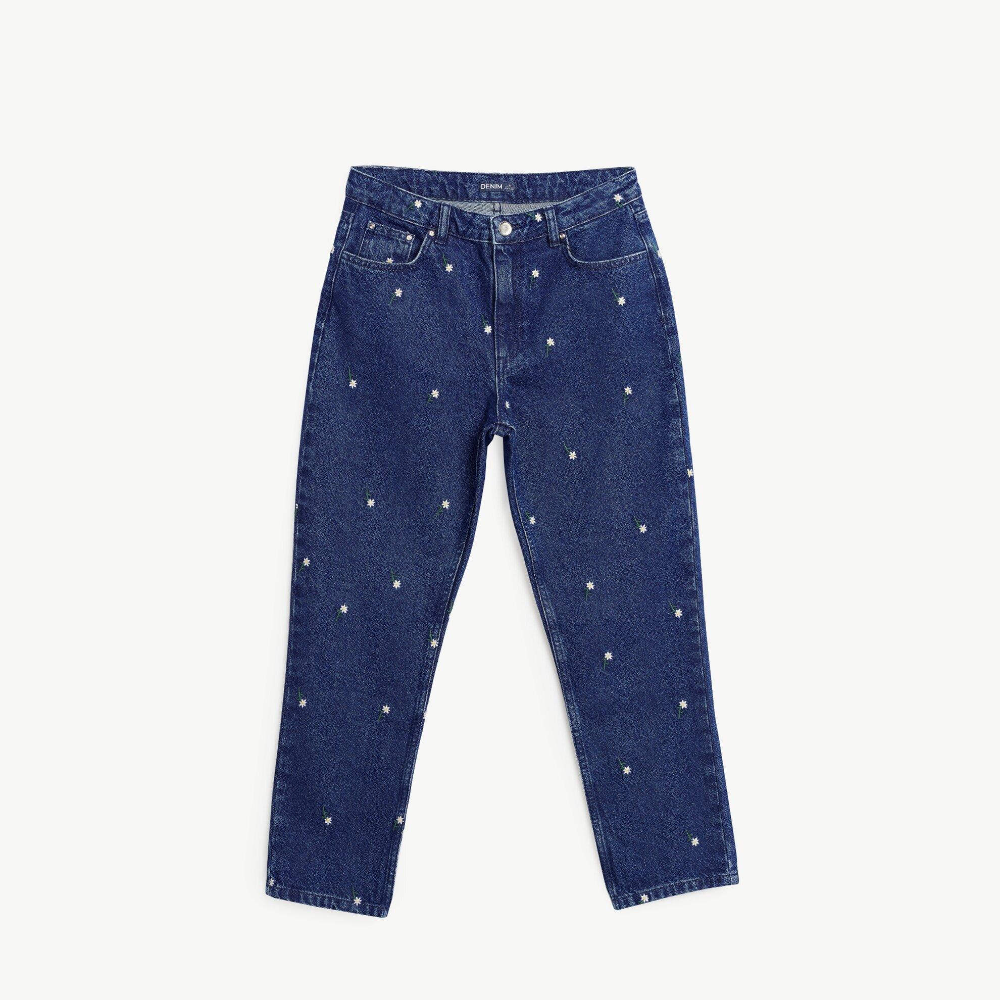 Nakışlı Düz Kesim Denim Pantolon