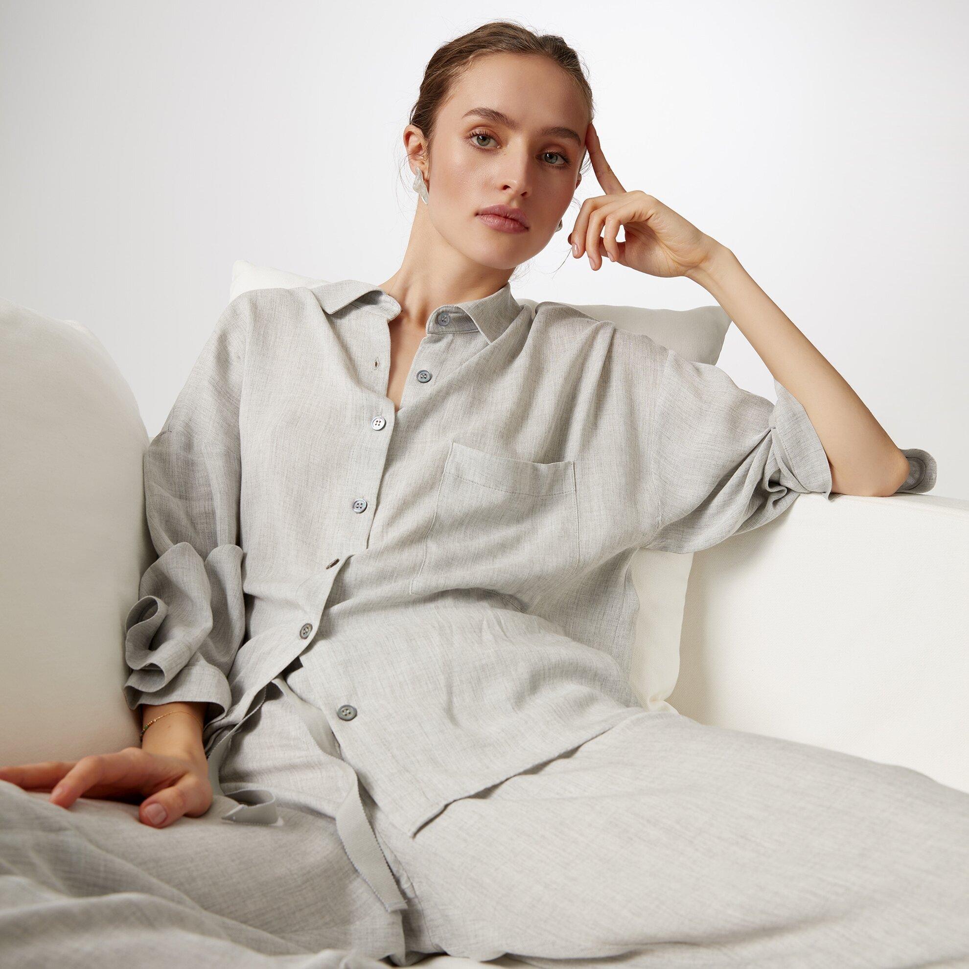 Geniş Kollu Pijama Üstu