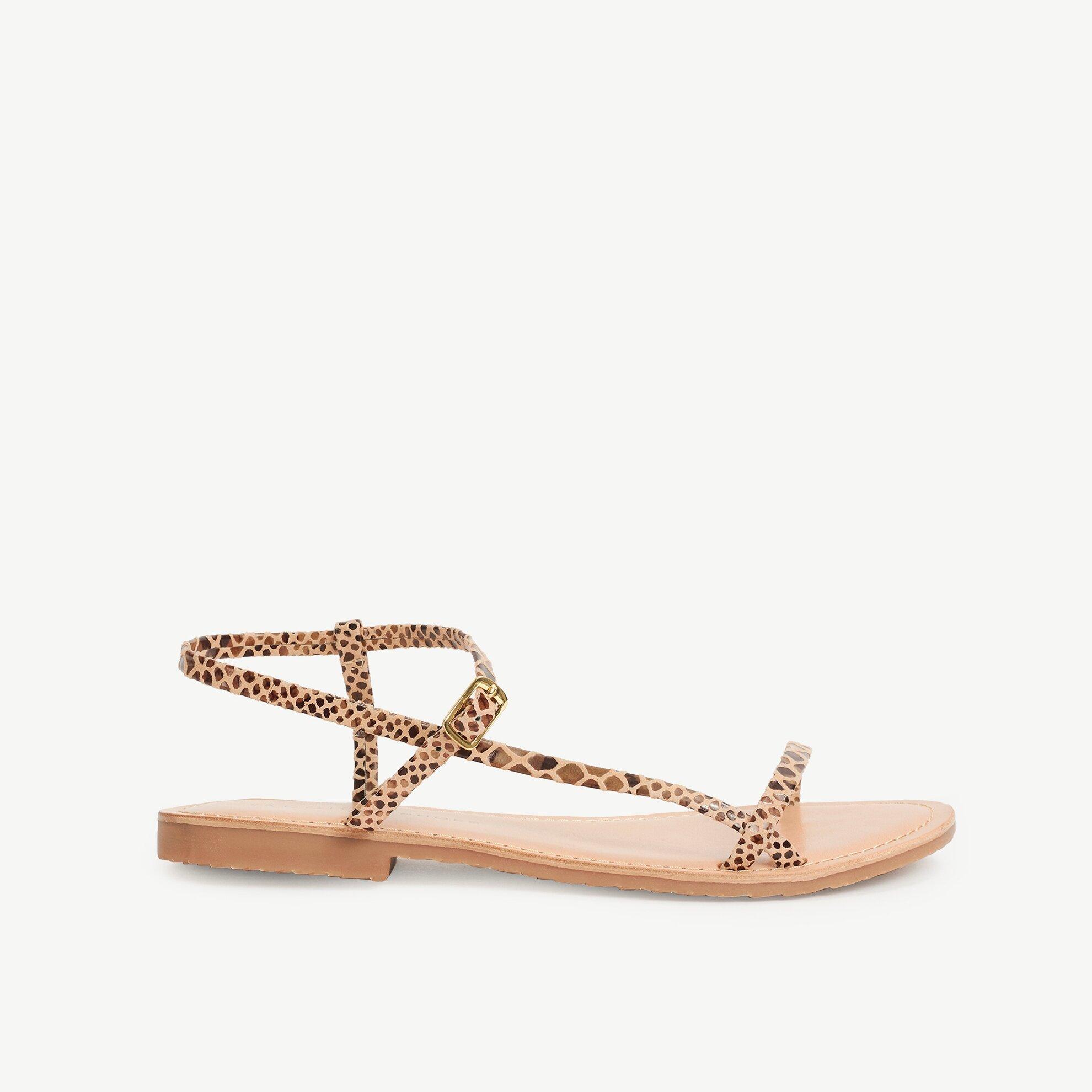 Piton Baskılı Deri Sandalet