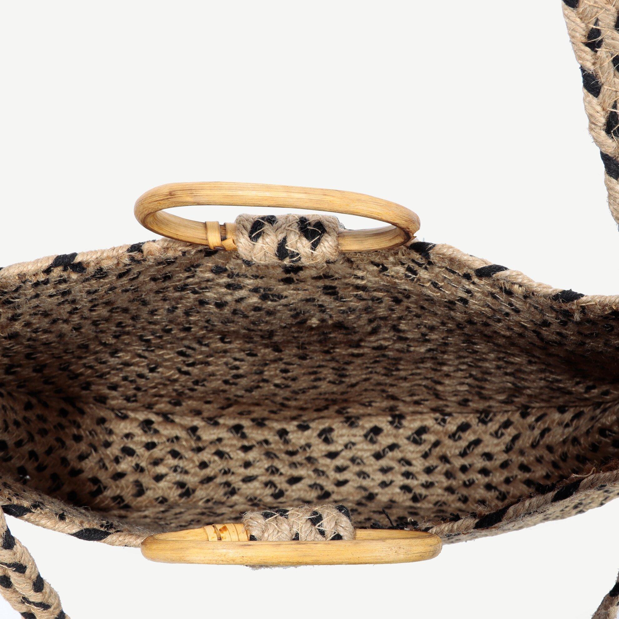 Bambu Sap Detaylı Jüt Omuz Çantası