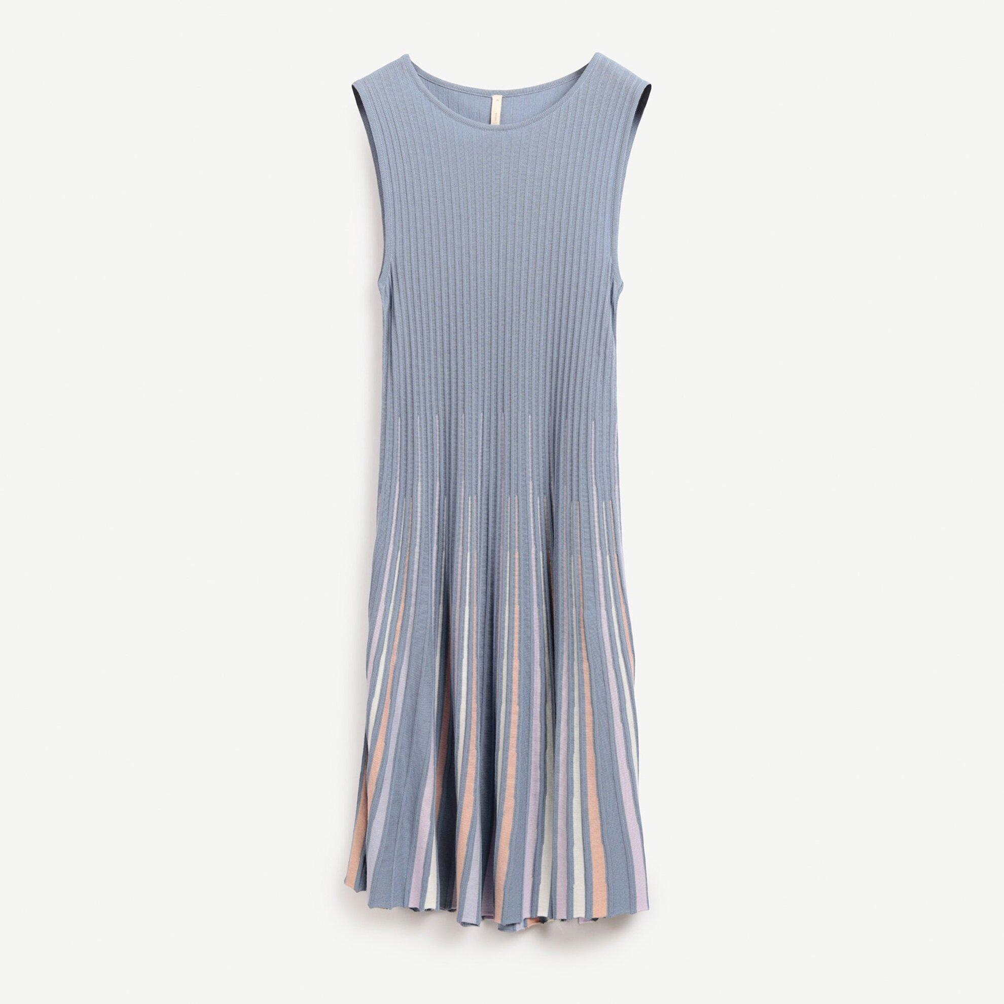 Plise Detaylı Uzun Triko Elbise