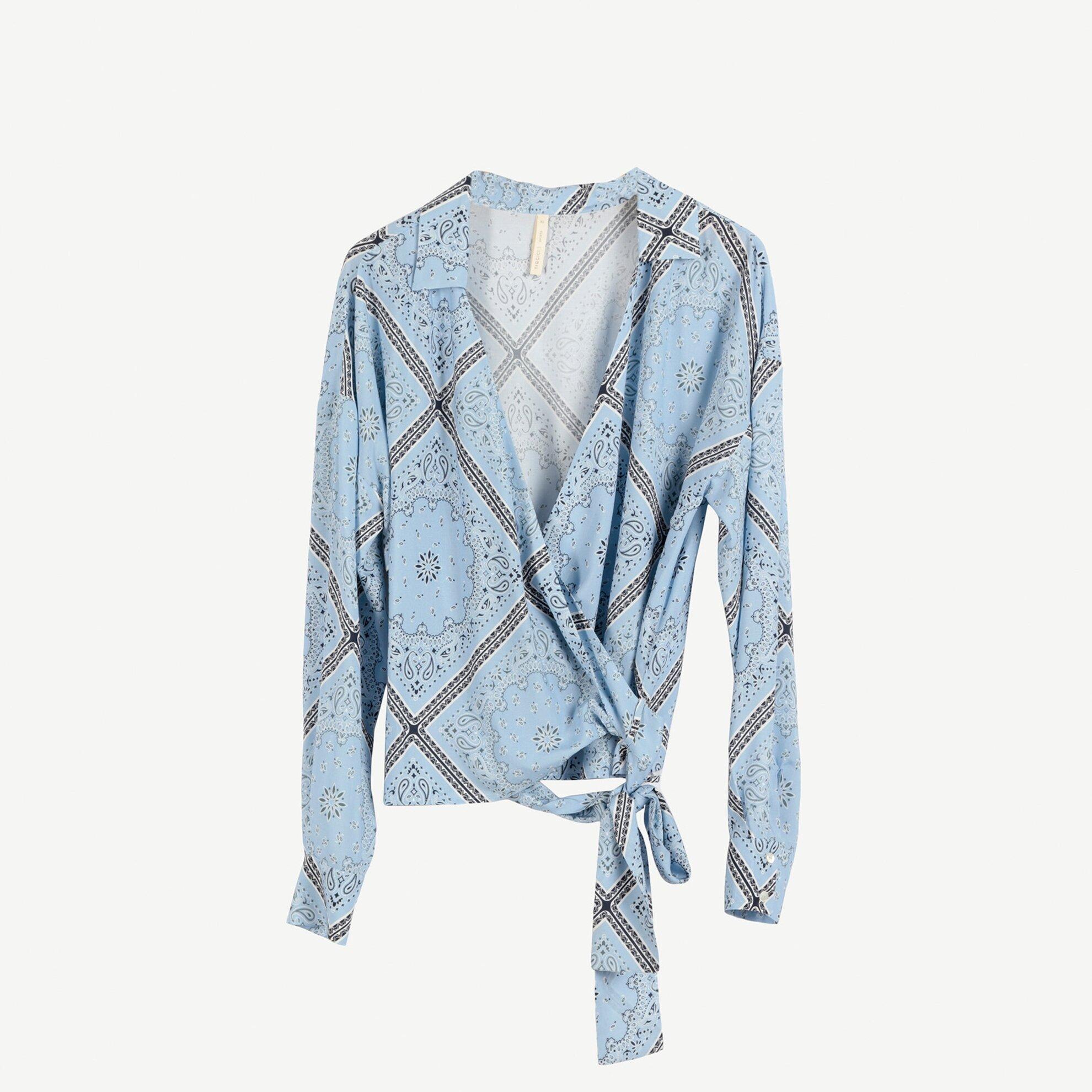 Kruvaze Bağlama Detaylı  Bluz