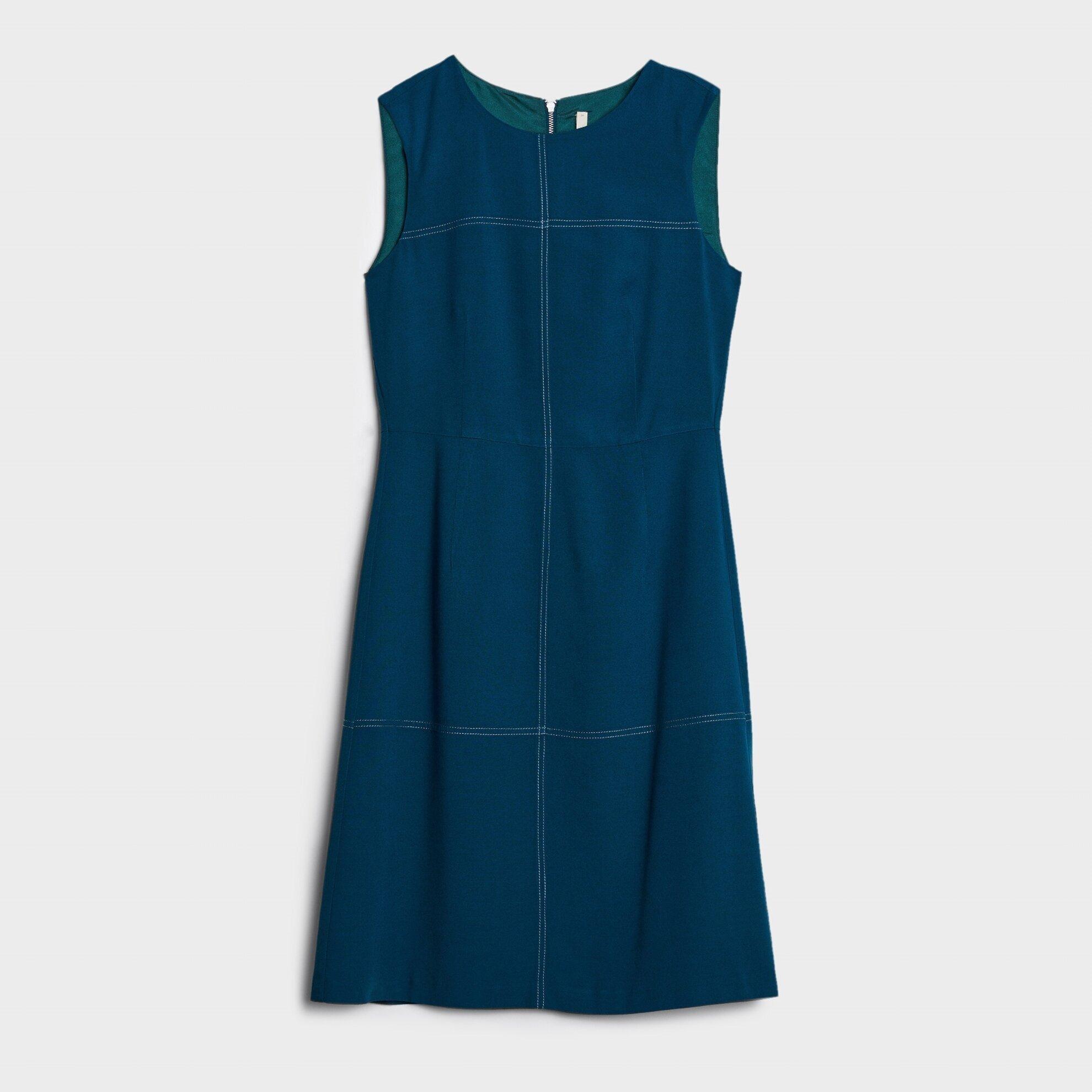 Dikiş Detaylı Kolsuz Elbise