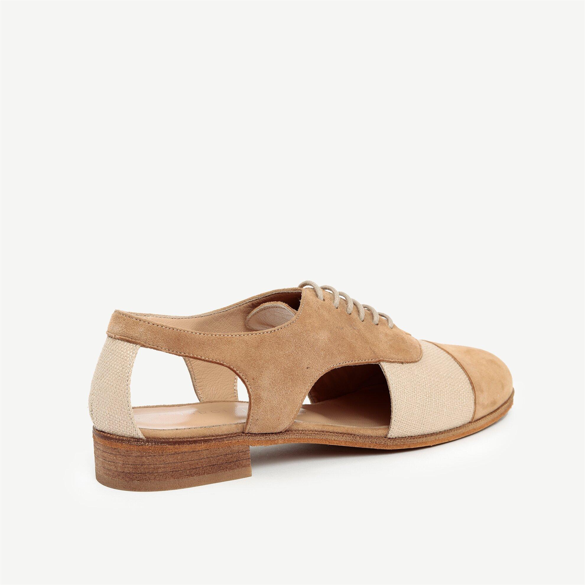 Kumaş Detaylı Deri Ayakkabı