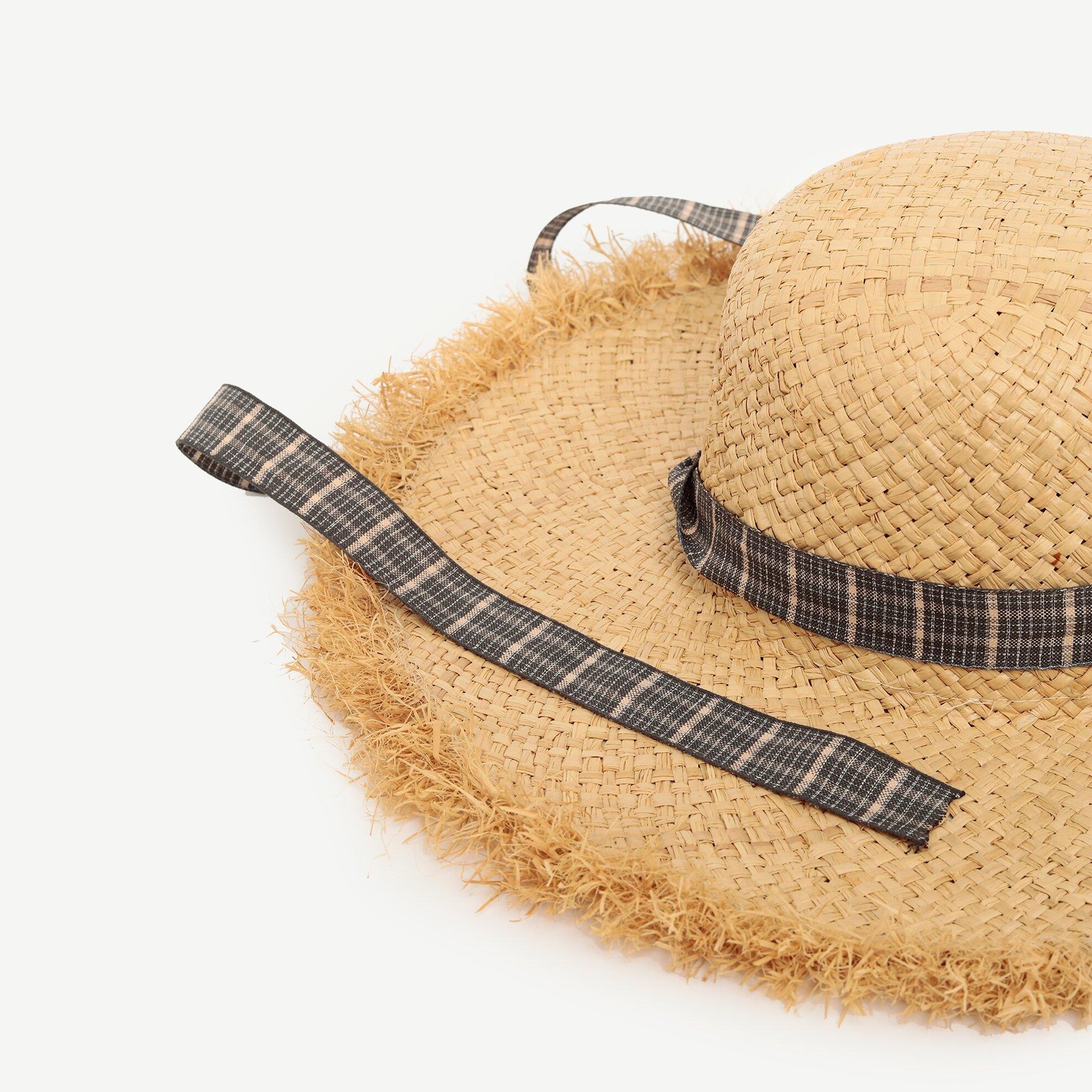 Doğal Kenarlı Rafya Şapka