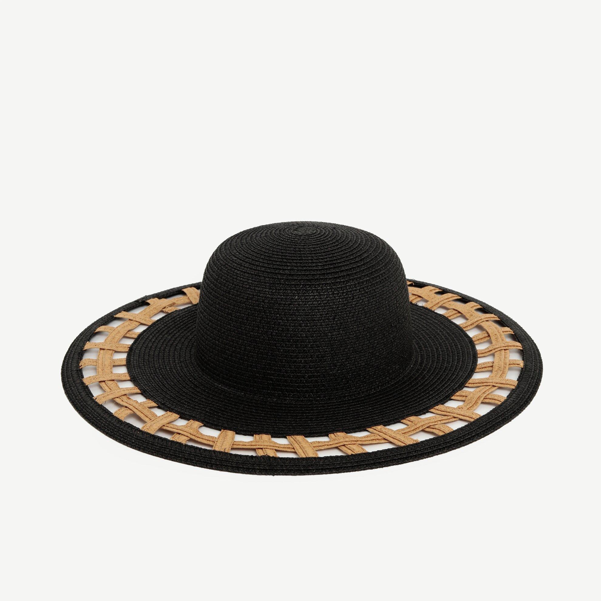 İki Renkli Hasır Şapka