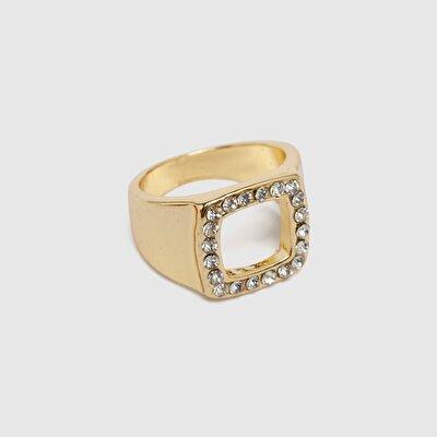 Ring quadratisch mit Steinen
