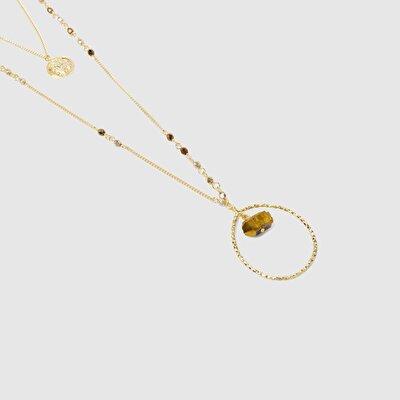 Halskette lang mit Perlen