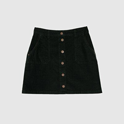 Picture of Front Buttoned Corduroy Over The Knee Skirt