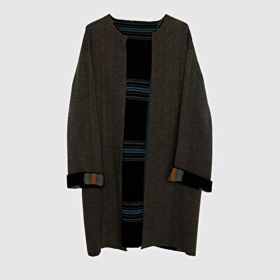 Picture of Check Patterned Tricot Coat