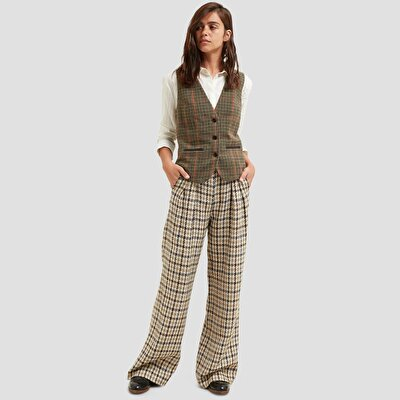 Waistband Detailed Wide Leg Trousers