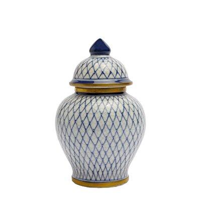 Dekoratif Obje - Blue Blanc Küp (11,5x17,5cm)