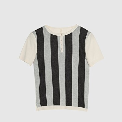 Vertical Striped Short Sleeve Tricot