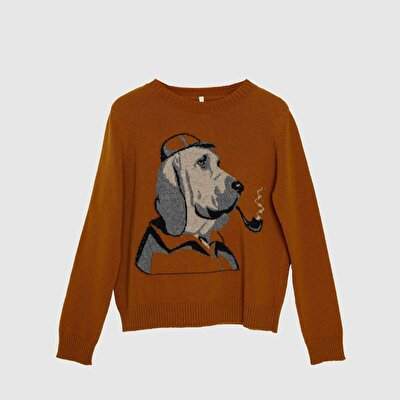 Picture of Dog Patterned Long Sleeve Knitwear
