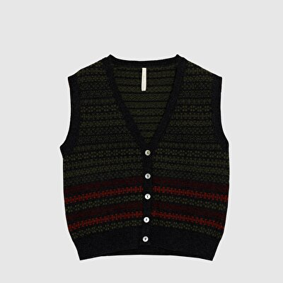 Patterned Front Buttoned Vest