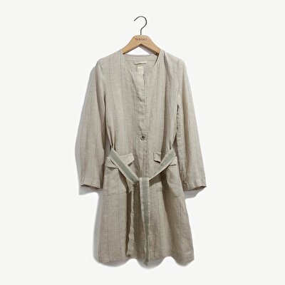 Round Neck Trench Coat With Patch Pockets
