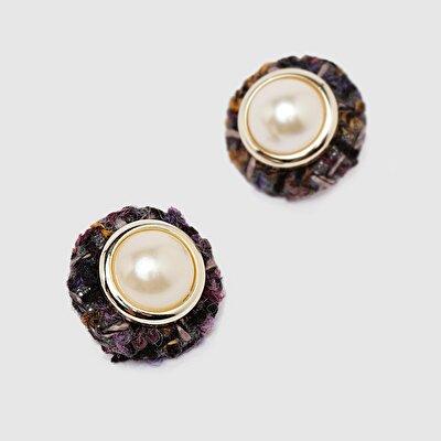 Perlen Ohrring mit Stoff