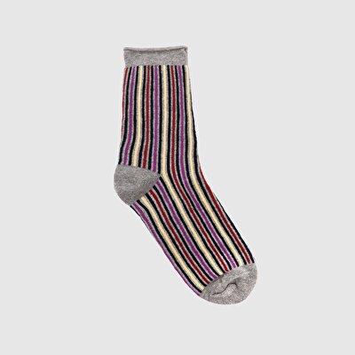 Resim Çizgili Kalın Çorap
