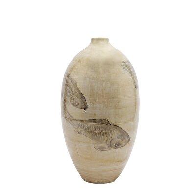 Resim El Yapımı Seramik Vazo ( 24 X 43 Cm )