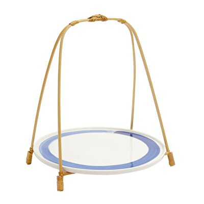 Picture of Ceramic Basket With Bamboo Handle ( 20 X 20 X 25 Cm )
