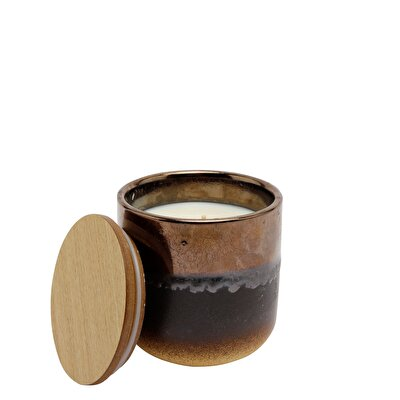 Wooden Lid Candle ( 9 X 9 X 10 Cm ) - White Cardamom & Sage