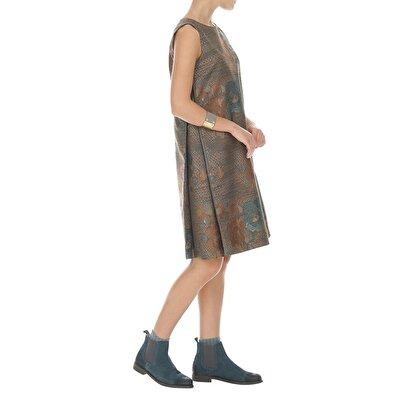Resim Omuzu Kesik Detaylı A Form Elbise