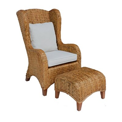 Rattan Armchair And Stool  ( 70 X 84 X 104 Cm )  (47 X 50 X 35 Cm )