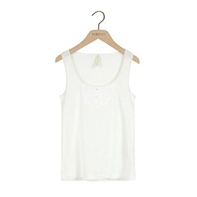 Resim Düğme Detaylı Askılı T-shirt