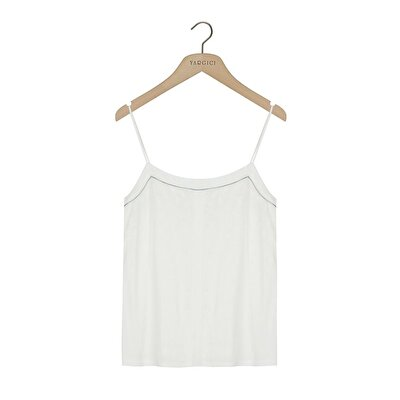 Woven Tank Top With Piping Detail
