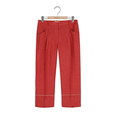 Resim Kıvrık Paça Biye Detaylı Pantolon