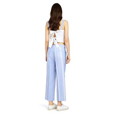 Resim Ütü Çizgili Bol Pantolon