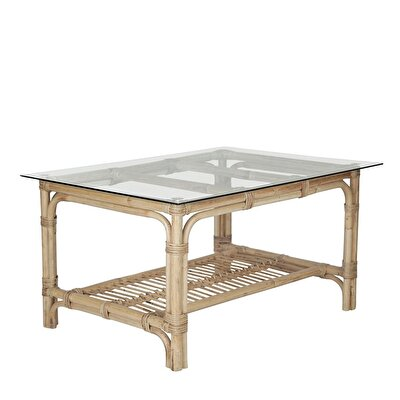 Picture of Wooden And Glass Side Table (85x47x66 Cm)