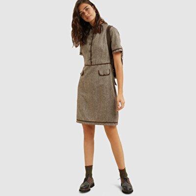 Resim Düğmeli Elbise