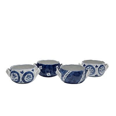 Handmade Porcelain Bowl  ( Set Of 4 - 14 X 7 Cm  )