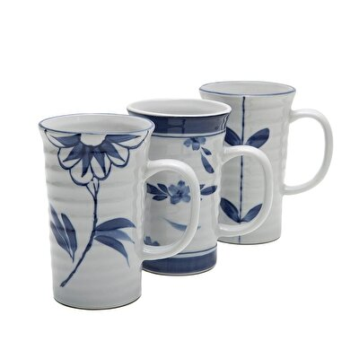 Handmade Porcelain Mug ( Set Of 3 - 12 X 8 Cm  )