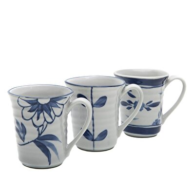 Handmade Porcelain Mug  ( Set Of 3 - 8 X 8 Cm )