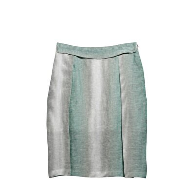 Wide Waistbanded Below Knee Lenght Skirt With Slit