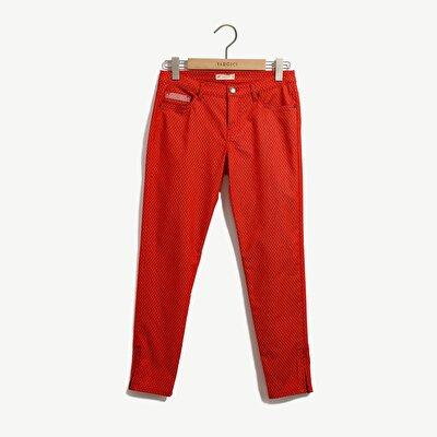 Resim Jakarlı Paçada Fermuar Detaylı 5 Cep Pantolon
