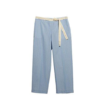 Resim Bol Paça Ütü Çizgili Pantolon