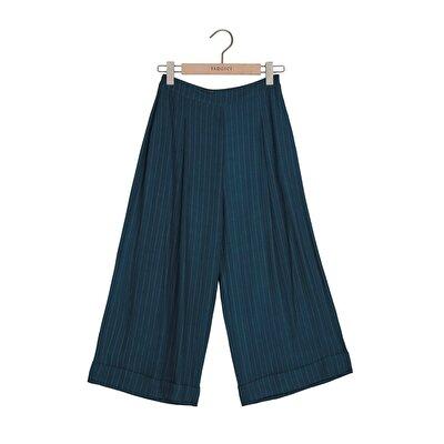 Resim Kırma Detaylı Geniş Paça Pantolon