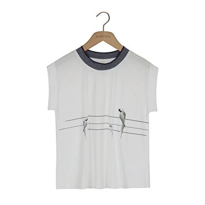 Resim Yaka Detaylı Kolsuz T-shirt